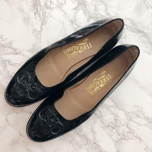 Ferragamo Logo Black Patent Leather Flats